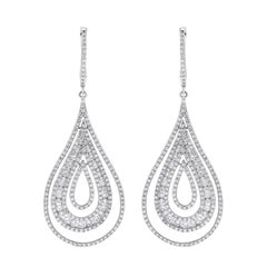 Beauvince Pear Drop Dangle Diamond Earrings in White Gold