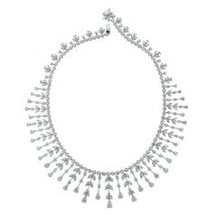 Beauvince Pear, Marquise and Round Diamond Collar Necklace in White Gold