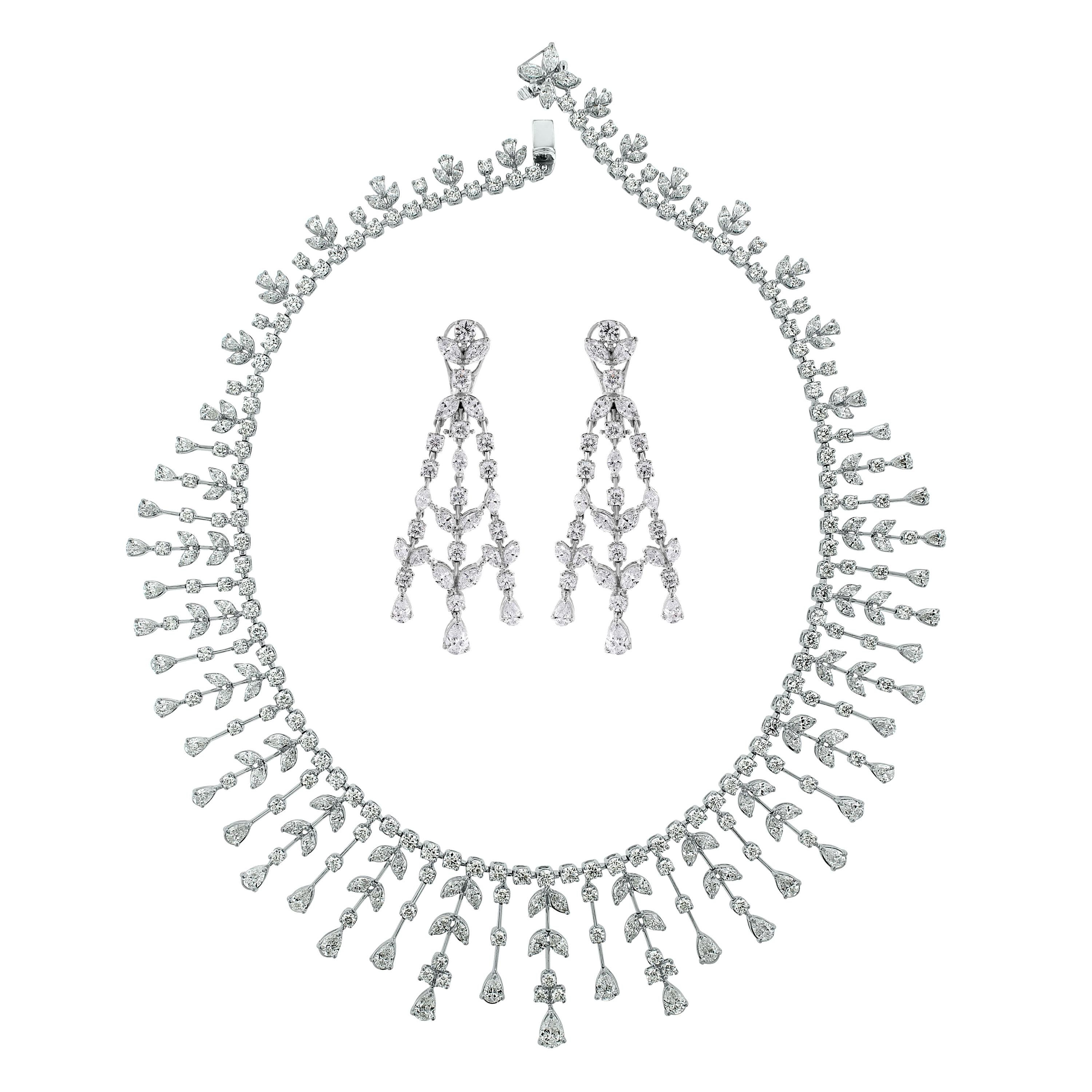 Beauvince Pear, Marquise and Round Diamond Necklace and Earring Suite in Gold