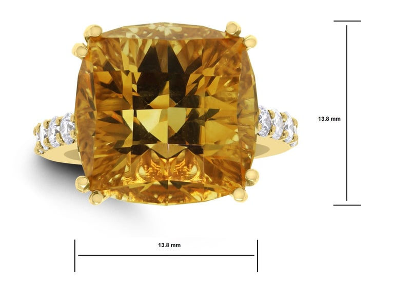 Square Cut Beauvince Pot of Gold Citrine and Diamond Ring in Yellow Gold For Sale