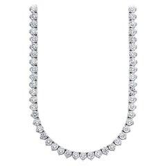 Beauvince Round Diamond 27.63 Carat Tennis Riviera Necklace in Platinum
