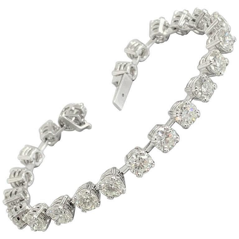 Beauvince Round Diamond 15.95 Carat Tennis Bracelet in Platinum
