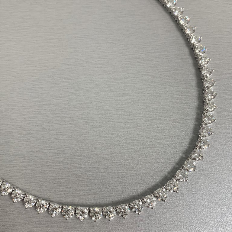 Contemporary Beauvince Round Diamond 28.31 Carat Tennis Riviera Necklace in Platinum For Sale