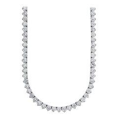 Beauvince Round Diamond 28.31 Carat Tennis Riviera Necklace in Platinum