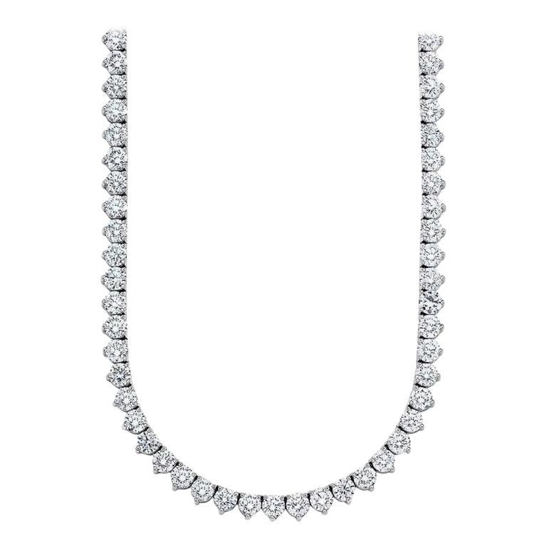 Beauvince Round Diamond 28.31 Carat Tennis Riviera Necklace in Platinum For Sale
