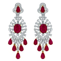 Beauvince Ruby and Diamond Drop Chandelier Earrings in White Gold
