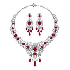 Beauvince Ruby and Diamond Necklace and Earring Suite in White Gold