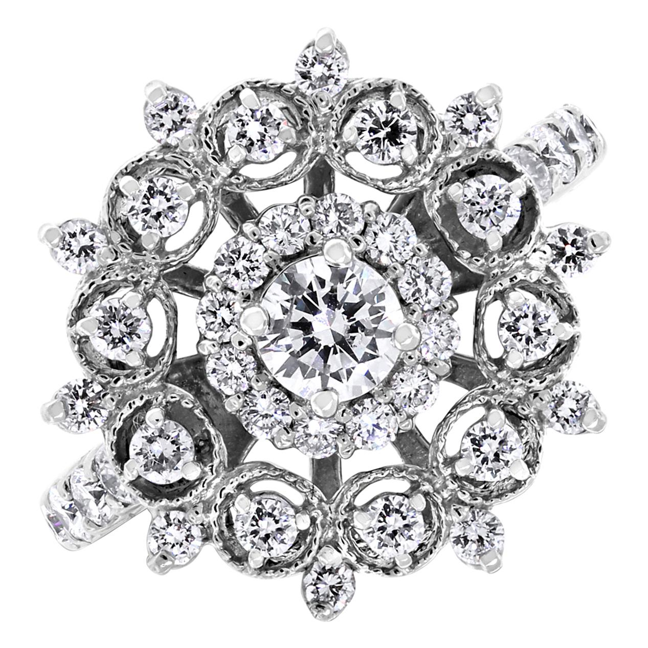 Beauvince Snowflakes Diamond Ring in White Gold