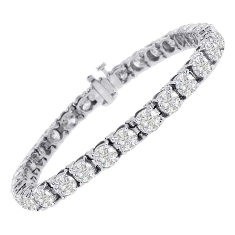 Beauvince Solitaire Diamond 15.36 Carat Tennis Bracelet in White Gold