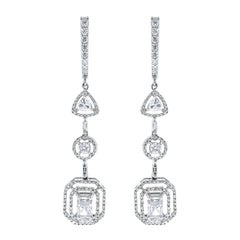 Beauvince Solitaire Diamond Halo Dangle Earrings in White Gold