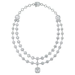 Beauvince Solitaire Diamond Halo Multi-Strand Necklace in White Gold