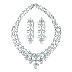 Beauvince Solitaire Diamond Halo Necklace and Earring Suite in White Gold