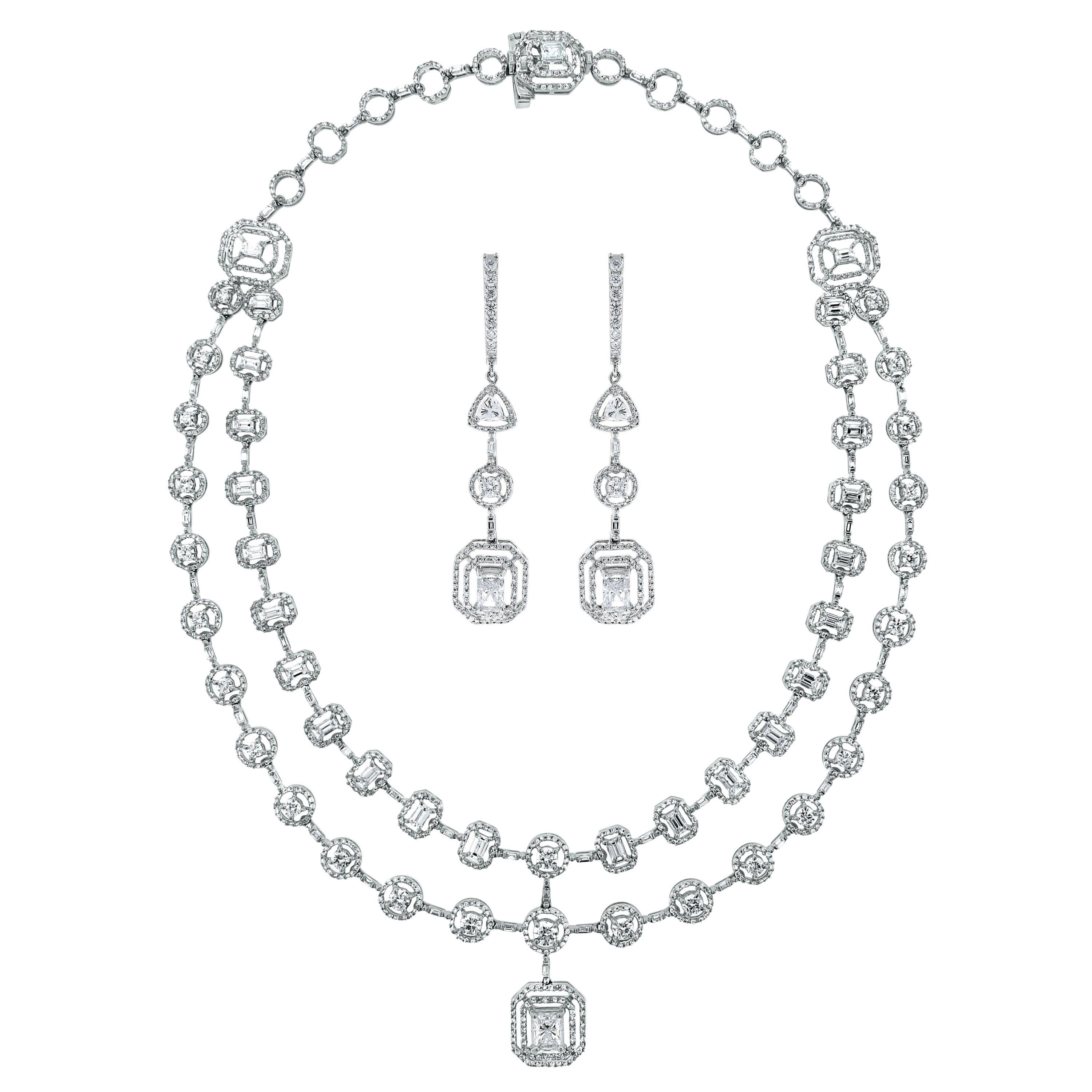 Beauvince Solitaire Diamond Necklace and Earring Suite in White Gold