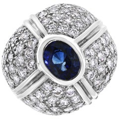 Beauvince Starry Crossroads Sapphire Gem and Diamond Ring in White Gold