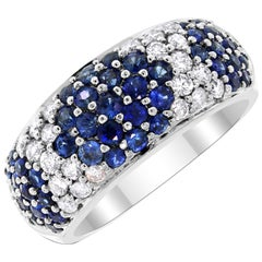 Beauvince Tapestry Sapphire and Diamond Band in White Gold