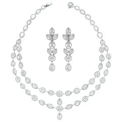 Beauvince Tara Necklace and Earrings Suite in White Gold