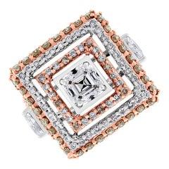 Beauvince Trina Geometric Halo Diamond Ring in Gold