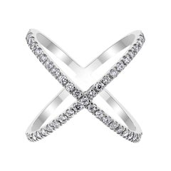 Beauvince Xena Diamond Cross Ring in White Gold