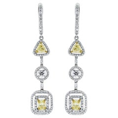 Beauvince Yellow and White Diamond Halo Dangle Earrings in White Gold