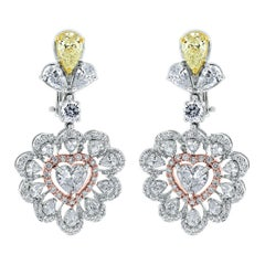 Beauvince Yellow and White Diamond Heart Drop Earrings in White Gold