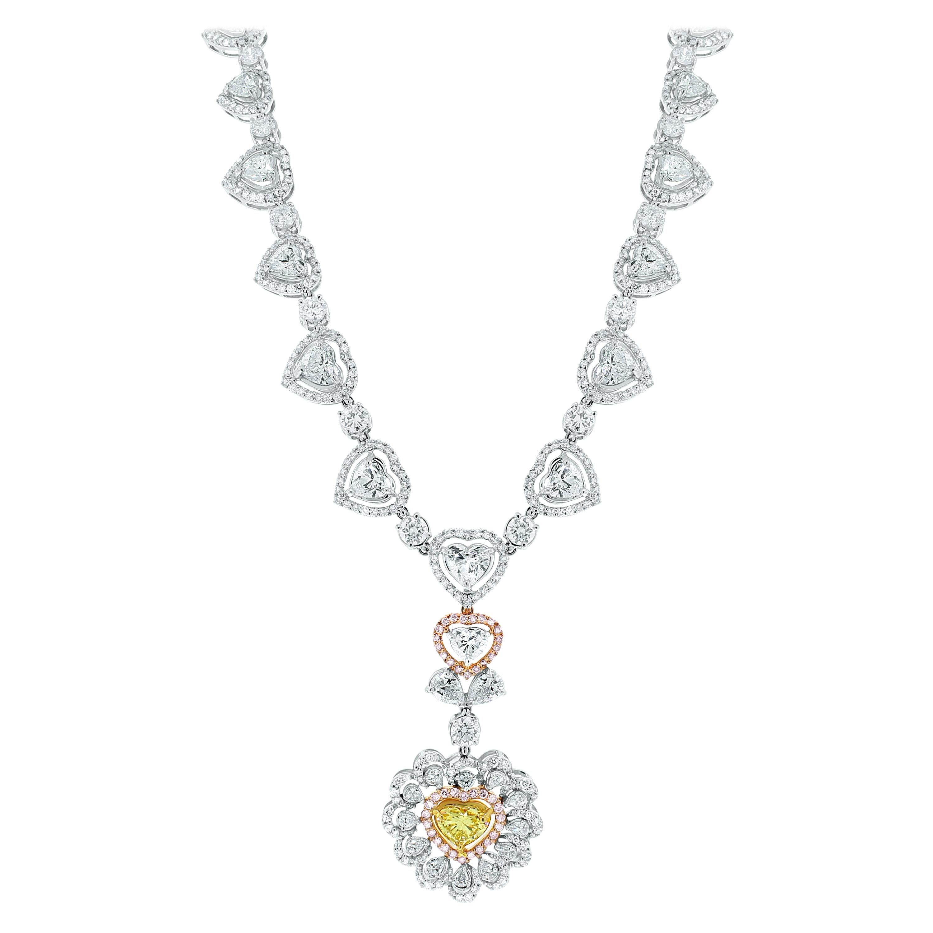 Beauvince Yellow and White Diamond Heart Pendant Necklace in White Gold