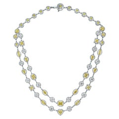 Beauvince Yellow and White Diamond Multi-Strand Necklace in White Gold