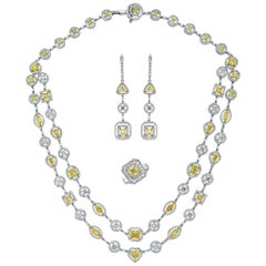 Beauvince Yellow and White Diamond Necklace Earring and Ring Suite in White Gold