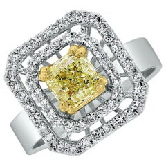 Beauvince Yellow Cushion Solitaire and White Diamond Halo Ring in White Gold