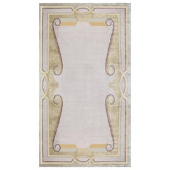 Beaux Art Deco Beige Gold Purple Hand Knotted Natural Yarn Rug after Andre Arbus