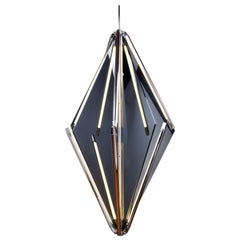 Bec Brittain Echo 3, Grey Glass & Polished Nickel LED Chandelier, Floor Sample