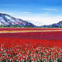 Becca Clegg, Stripy Tulip Fields, Limited edition floral print
