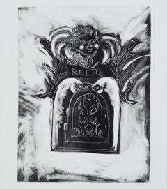 """Reliq,"" original black and white monotype by Beckett R. Berning"