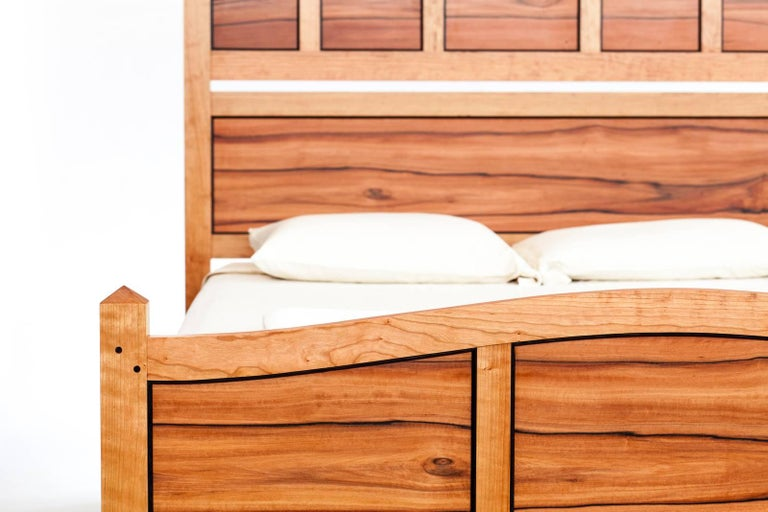 Another fine Custom made bed is displayed in Queen size, but can manufactured by Studio Rossi in any size and wood combinations. Fred Rossi plays great attention to detail, for instance lining up the grain of the wood in separate panels of the