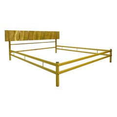 Bed by Luciano Frigerio With Cast Bronze Panels, Italy, 1960s