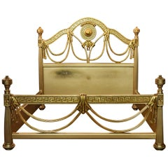 Bed Carved in Versace Style Poliment Gold High Quality