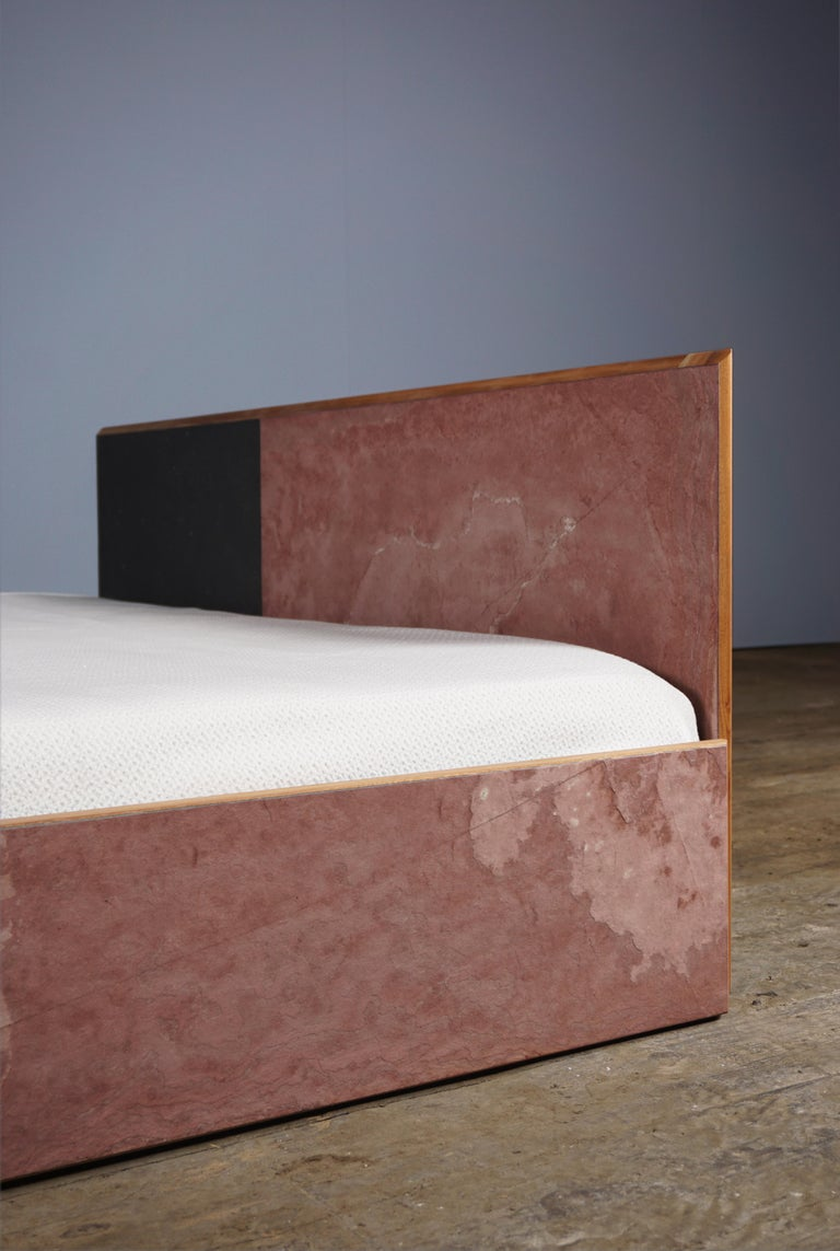 British Bed Frame in Mahogany, Stone Veneer, Metal, Designed by Max Frommeld For Sale