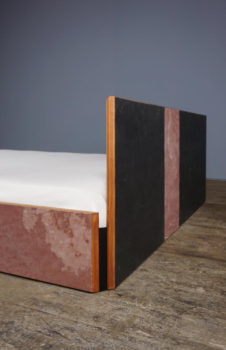 Bed Frame in Mahogany, Stone Veneer, Metal, Designed by Max Frommeld In New Condition For Sale In London, GB