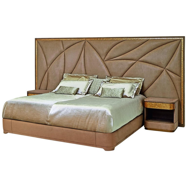 Bed Headboard Bedframe Plywood Edge Trim Distressed Paint Leather or Fabric For Sale