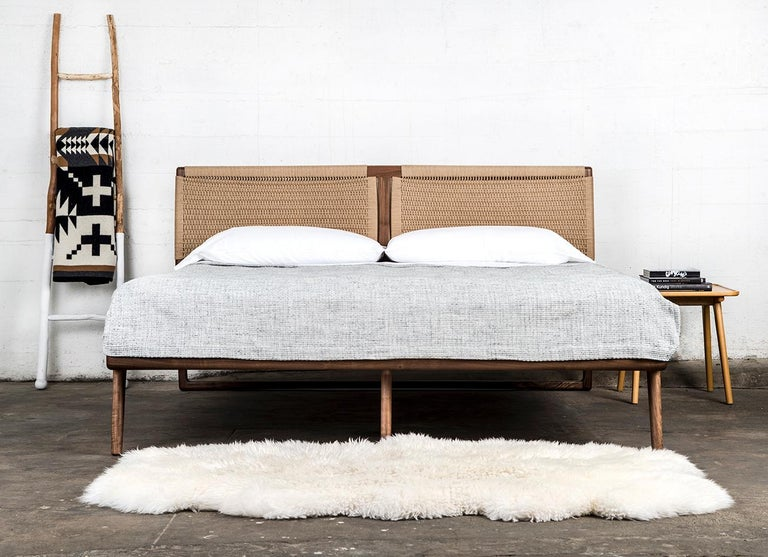 *This listing is for a Rian Bed in Walnut with Kraft Danish Cord, King.  A good bed is hard to find, but a Semigood bed is hard to beat. The Rian Bed features a unique two panel woven Danish cord headboard making for one of the most unique