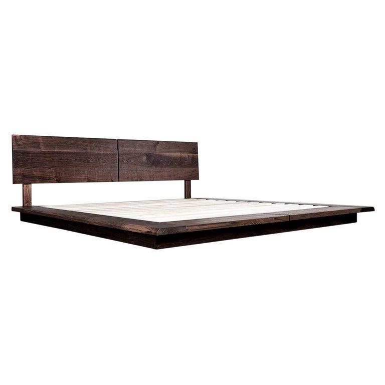 Bed, King, Platform, Mid-Century Modern Style, Custom, Hardwood, Semigood, Rift For Sale