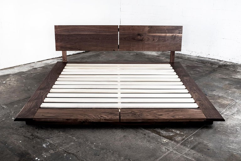 American Bed, King, Platform, Mid-Century Modern Style, Custom, Hardwood, Semigood, Rift For Sale