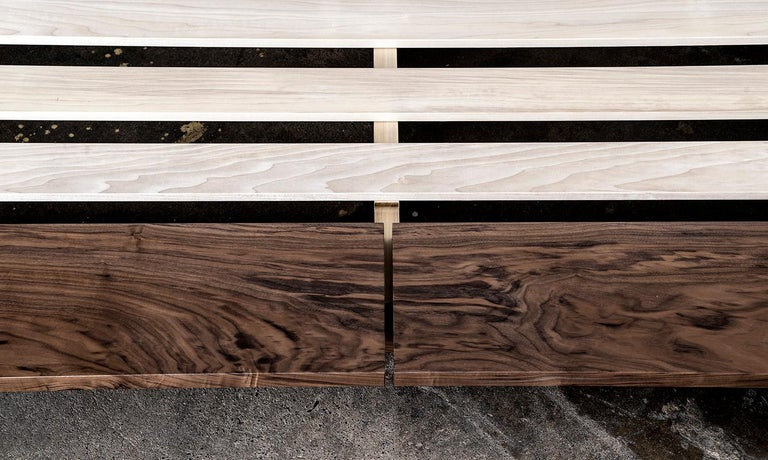 Hand-Crafted Bed, King, Platform, Mid-Century Modern Style, Custom, Hardwood, Semigood, Rift For Sale