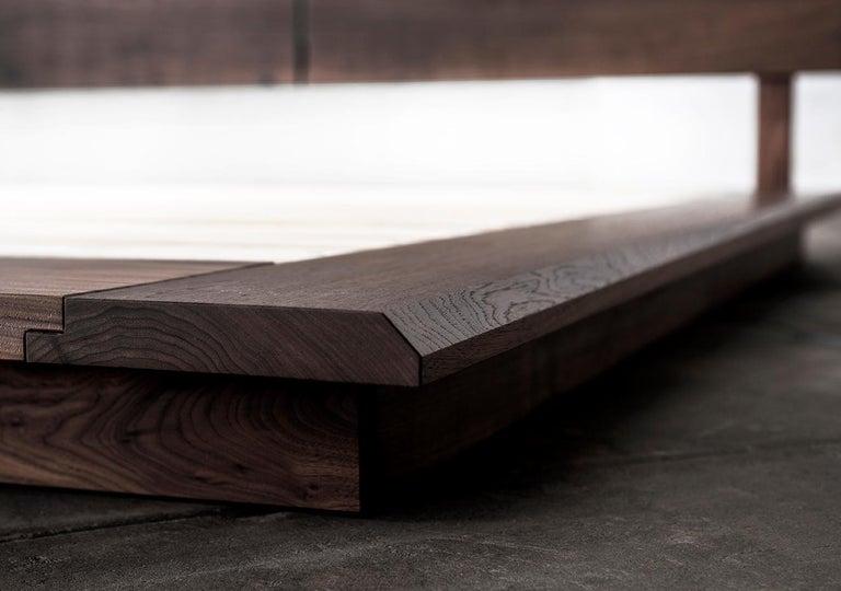 Hand-Crafted Bed, King, Platform, Mid Century Modern-Style, Custom, Hardwood, Semigood, Rift For Sale