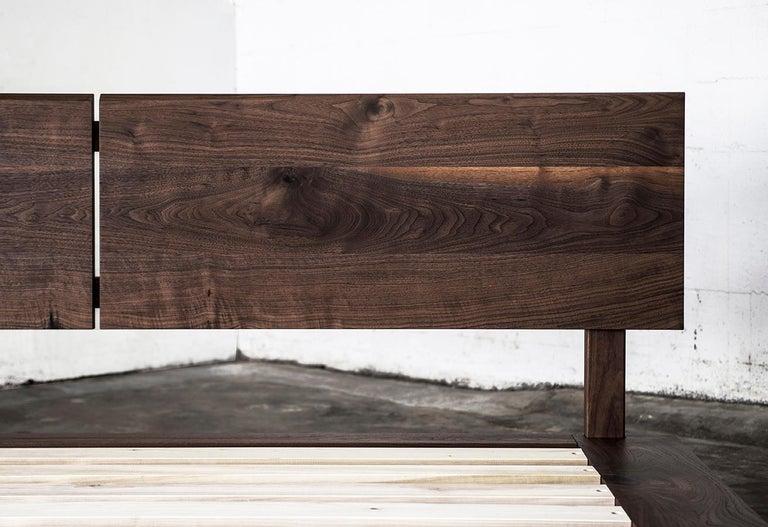Contemporary Bed, King, Platform, Mid-Century Modern Style, Custom, Hardwood, Semigood, Rift For Sale