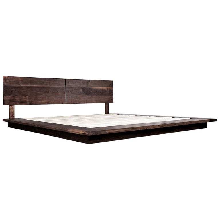 Bed, King, Platform, Mid Century Modern-Style, Custom, Hardwood, Semigood, Rift For Sale