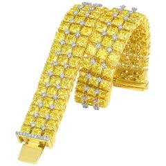 Bed of Flowers Inspired Yellow Diamond Unisex Tennis Bracelet, 23.53 Carat