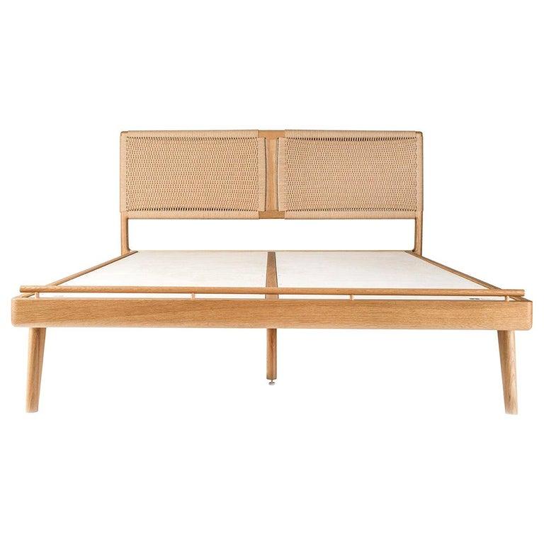 Bed, Headboard, Danish Cord, Custom, Mid Century Modern-Style, Woven, Hardwood, For Sale