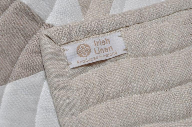 Bed Runner Quilt Blanket Vintage Irish Linen Patchwork Handmade In Good Condition For Sale In Belfast, Northern Ireland