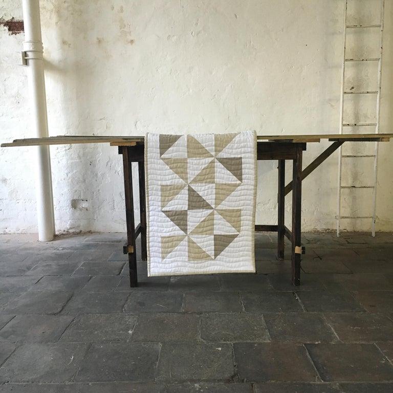 Contemporary Bed Runner Quilt Blanket Vintage Irish Linen Patchwork Handmade For Sale