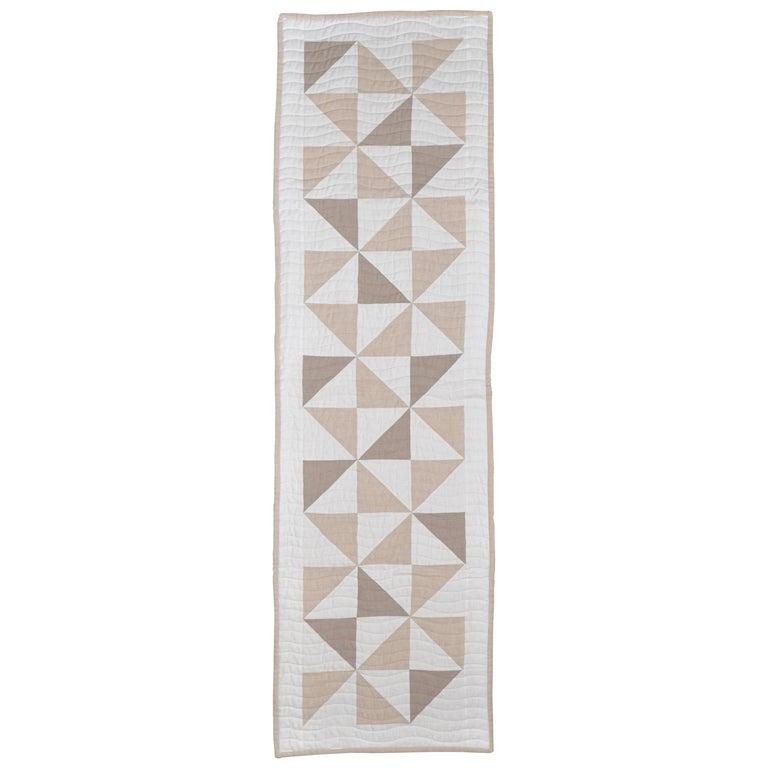 Bed Runner Quilt Blanket Vintage Irish Linen Patchwork Handmade For Sale